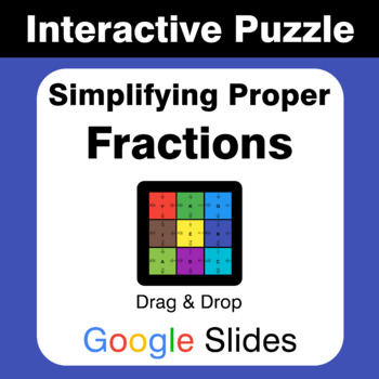 Simplifying Proper Fractions - Puzzles with GOOGLE Slides