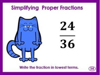 Simplifying Proper Fractions Task Cards