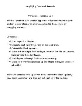 Simplifying Quadratic Formula