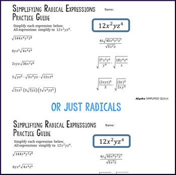 Simplifying Radical & Exponential Expressions Practice Guide