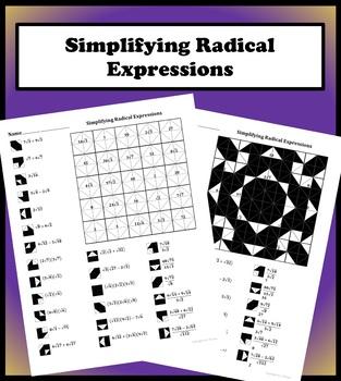Simplifying Radical Expression (add, sub, mult, div) Color Worksheet