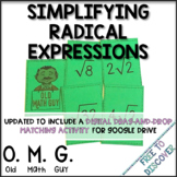 Simplifying Radical Expressions Card Game | Distance Learning