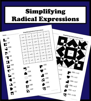 Simplifying Radical Expressions Color Worksheet by Aric Thomas | TpT