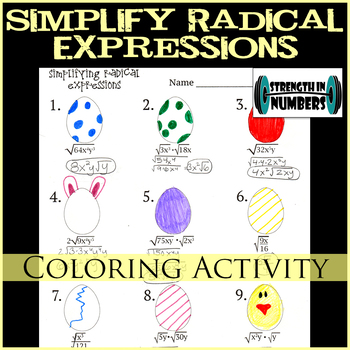 Simplifying Radical Expressions Easter Egg Coloring Activity