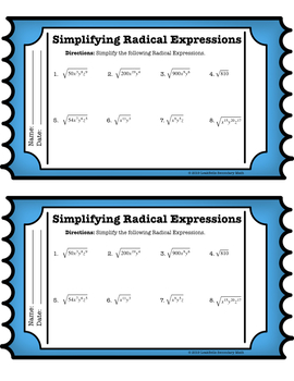 Simplifying Radical Expressions Exit Ticket