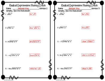 Simplifying Radical Expressions Fluency Check / Quiz : No Prep Fluent in Math