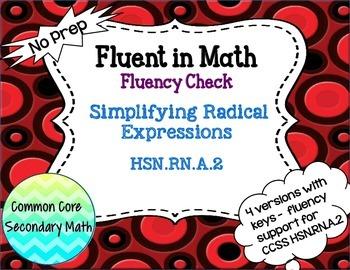 Simplifying Radical Expressions Fluency Check / Quiz : No