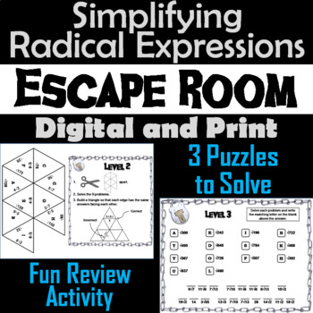 Simplifying Radical Expressions Game: Algebra Escape Room Math Activity