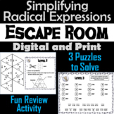 Simplifying Radical Expressions Activity: Simplifying Square Roots Escape Room