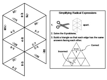 Simplifying Radical Expressions Game: Math Tarsia Puzzle