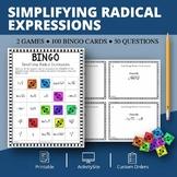 Simplifying Radical Expressions Math Bingo