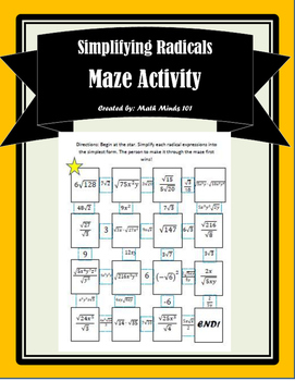 Simplifying Radical Expressions Maze Activity