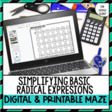 Simplifying Radical Expressions Maze Printable & Digital Versions