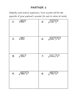 Simplifying Radical Expressions - Partners