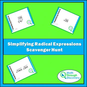 Algebra:  Simplifying Radical Expressions Scavenger Hunt