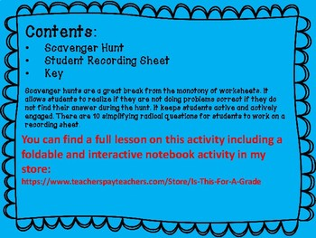 Simplifying Square Roots Scavenger Hunt