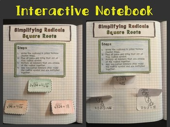 Simplifying Square Roots: Foldable, INB, Practice, Exit