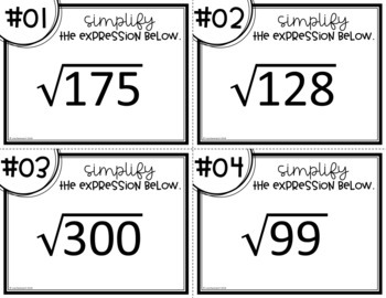 Simplifying Radical Expressions (Task Cards)