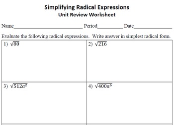 Simplifying Radical Expressions Unit Review Worksheet