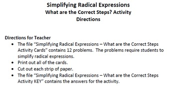 Simplifying Radical Expressions - What are the Correct Steps Activity