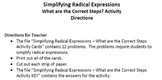 Simplifying Radical Expressions - What are the Correct Ste