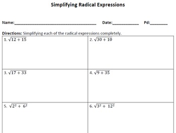 Simplify Each Expression Worksheet Plus Simplifying Radical ...