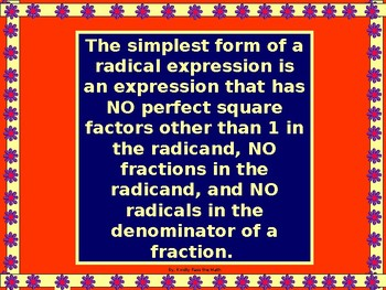 Algebra Power-point:  Simplifying Radical Expressions with GUIDED NOTES