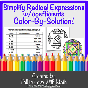 Simplifying Radical Expressions with Coefficients Color-by-Number!