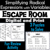 Simplifying Radical Expressions with Variables Game: Algebra Escape Room Math