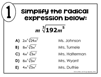 Simplifying Radical Expressions (with higher indexes) Math Lib