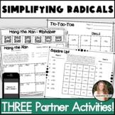 Simplifying Radicals Activity! No Prep Partner Pack!