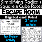 Simplifying Radicals Activity: Square and Cube Roots: Math Escape Room Algebra