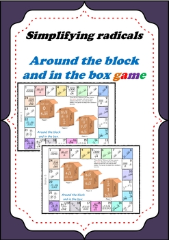 Simplifying Radicals - Aound the block and in the box Board game