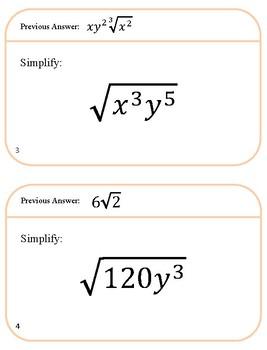 Simplifying Radicals - Around the Room Activity