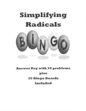 Simplifying Radicals Bingo with 25 Pre-Filled Boards! Fun & Easy!!!