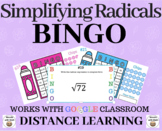 Simplifying Radicals - Bingo Game for Google Classroom/Distance Learning