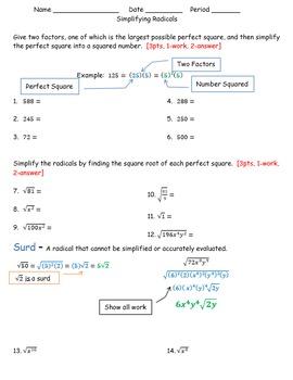 Simplifying Radicals worksheet (HSN.RN.A.2)