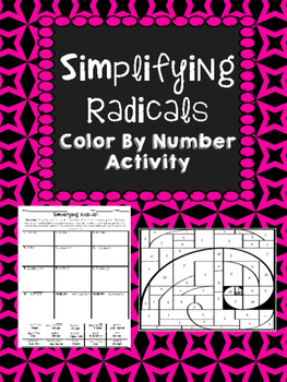 Simplifying Radicals Color By Number Activity