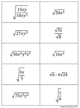 Simplifying Radicals - Concentration Game - Square Roots