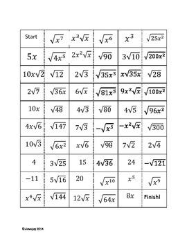 Simplifying Radicals Domino Activity (perfect/non perfect squares/variables)