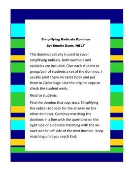 Simplifying Radicals Dominos
