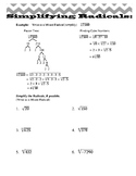 Simplifying Radicals & Exponent Laws Worksheets