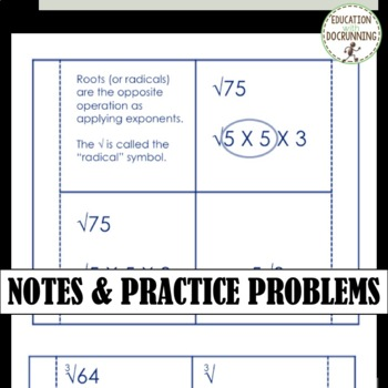 Simplifying Radicals Interactive Notebook Foldable (HSN.RN.A.2.)