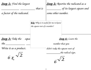 Simplifying Radicals Frayer Model Graphic Organizer