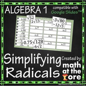 Simplifying Radicals - GOOGLE Slides