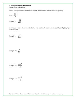 Simplifying Radicals Guided Notes and Practice Worksheet