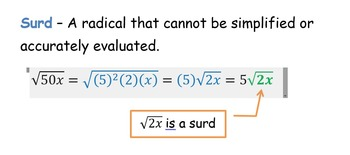 Simplifying Radicals (HSN.RN.A.2) Exit Cards with variables