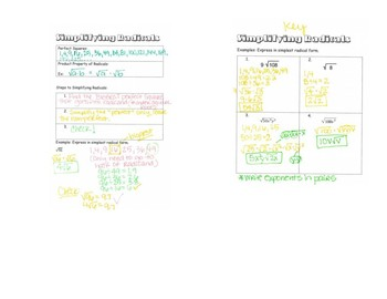 Simplifying Radicals INB Notes
