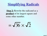 Simplifying Radicals Instructional PowerPoint
