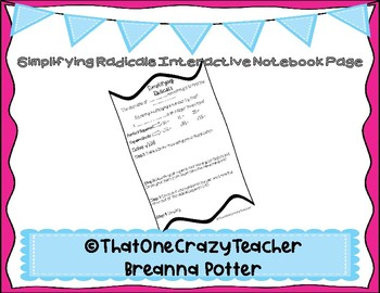 Simplifying Radicals Interactive Notebook Page